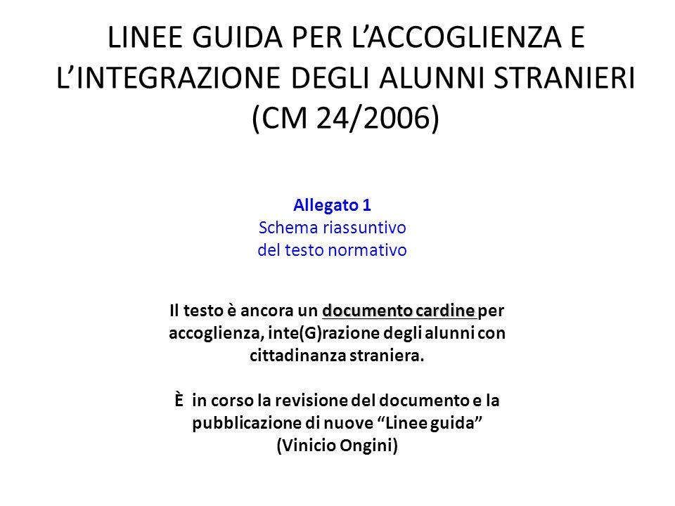 LINEE GUIDA PER L'ACCOGLIENZA E L'INTEGRAZIONE DEGLI ALUNNI STRANIERI (CM 24/2006)