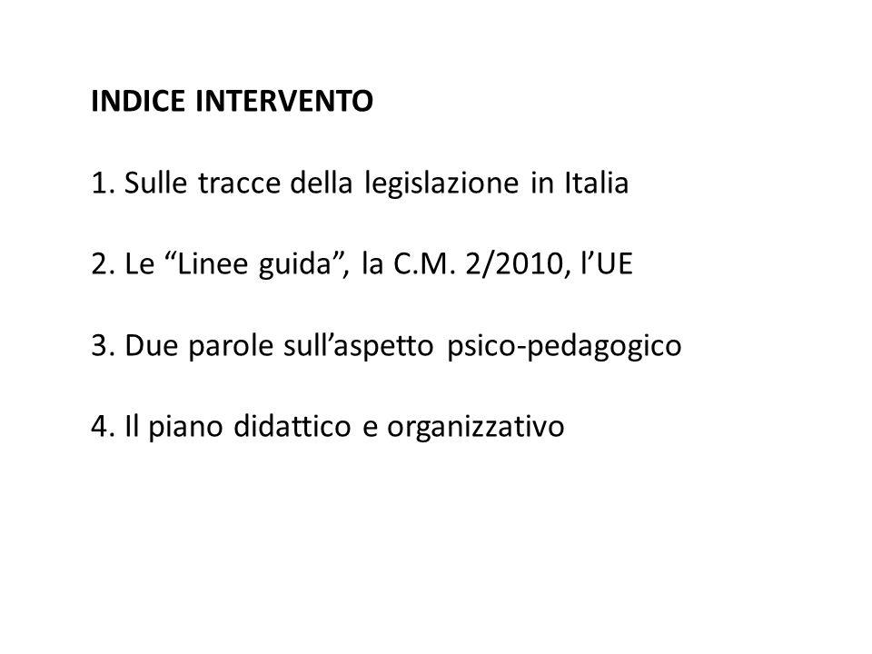 INDICE INTERVENTO 1. Sulle tracce della legislazione in Italia. 2. Le Linee guida , la C.M. 2/2010, l'UE.