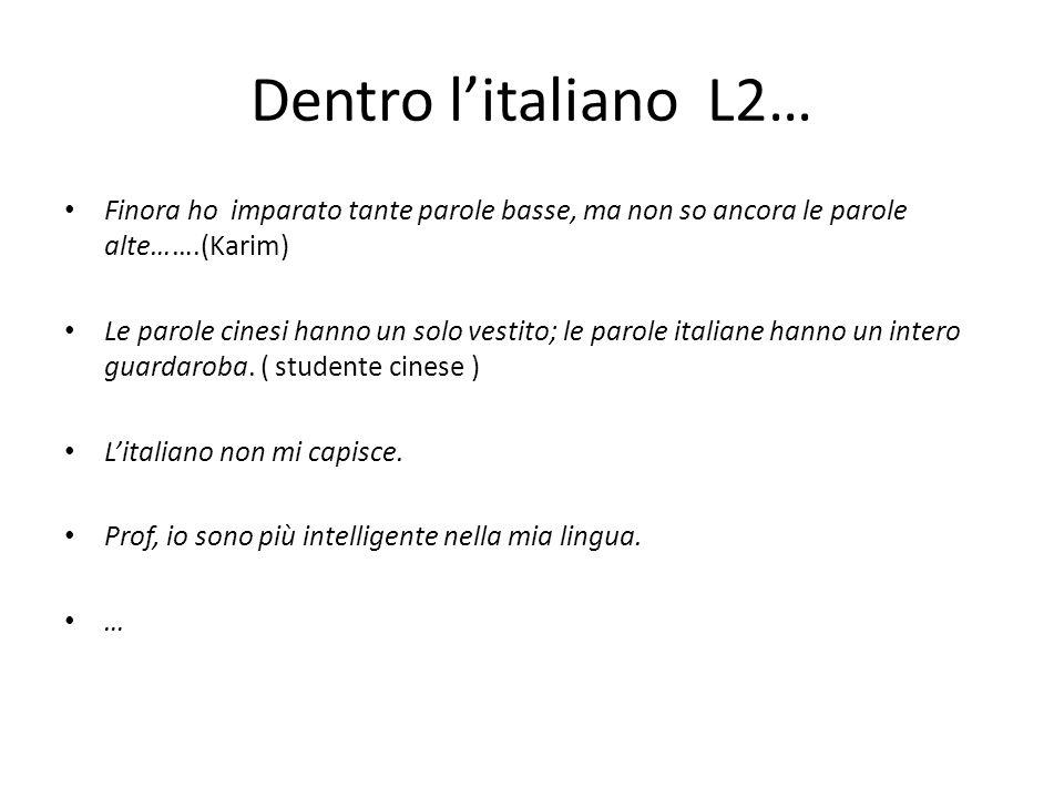 Dentro l'italiano L2… Finora ho imparato tante parole basse, ma non so ancora le parole alte…….(Karim)