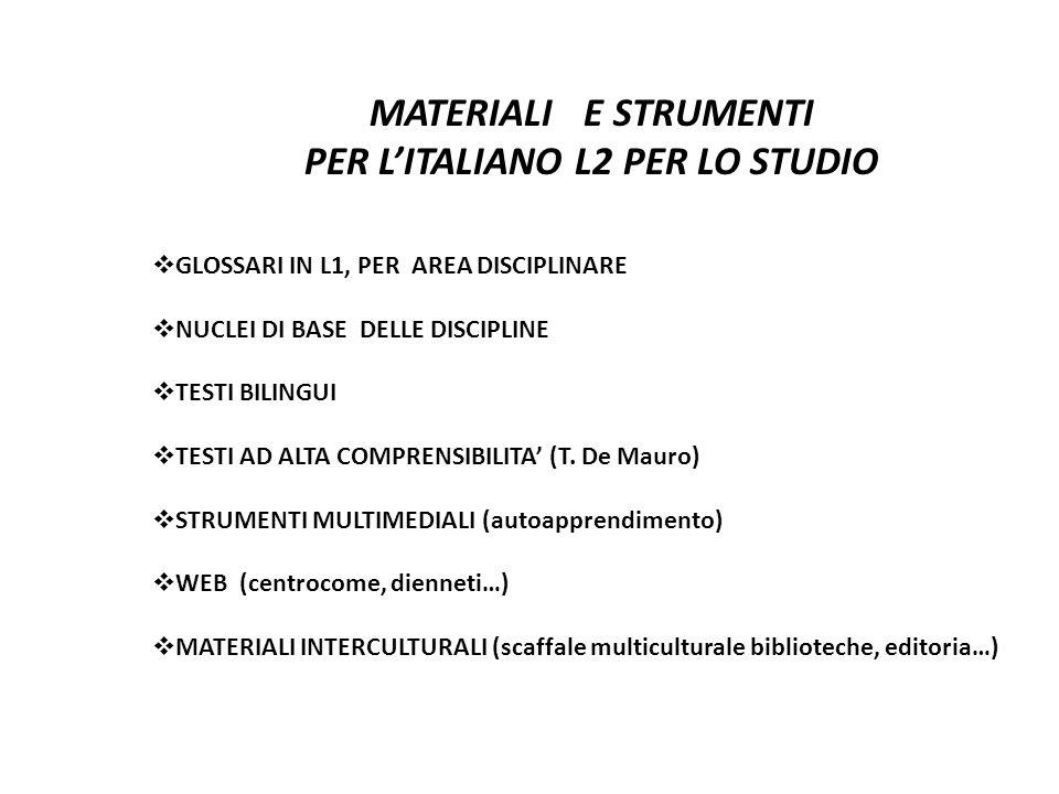PER L'ITALIANO L2 PER LO STUDIO