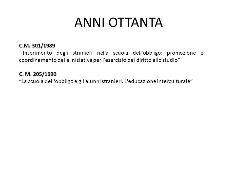 ANNI OTTANTA C.M. 301/1989.