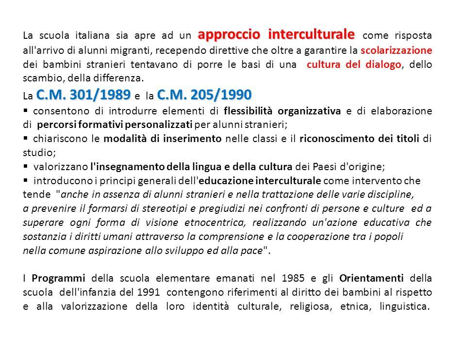 La scuola italiana sia apre ad un approccio interculturale come risposta all arrivo di alunni migranti, recependo direttive che oltre a garantire la scolarizzazione dei bambini stranieri tentavano di porre le basi di una cultura del dialogo, dello scambio, della differenza.