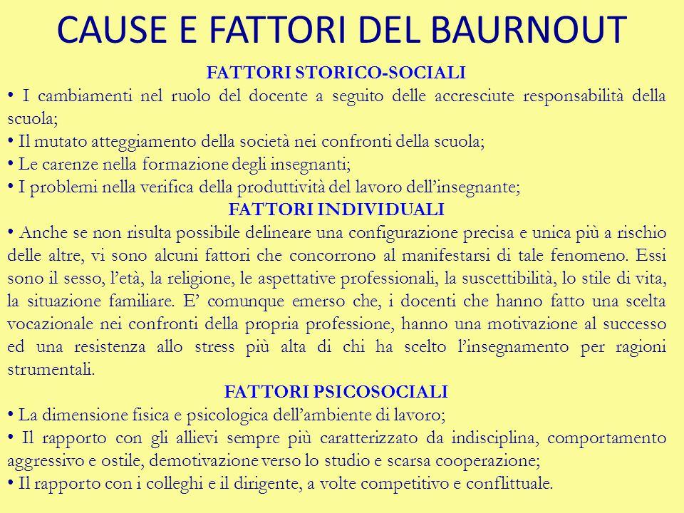 CAUSE E FATTORI DEL BAURNOUT