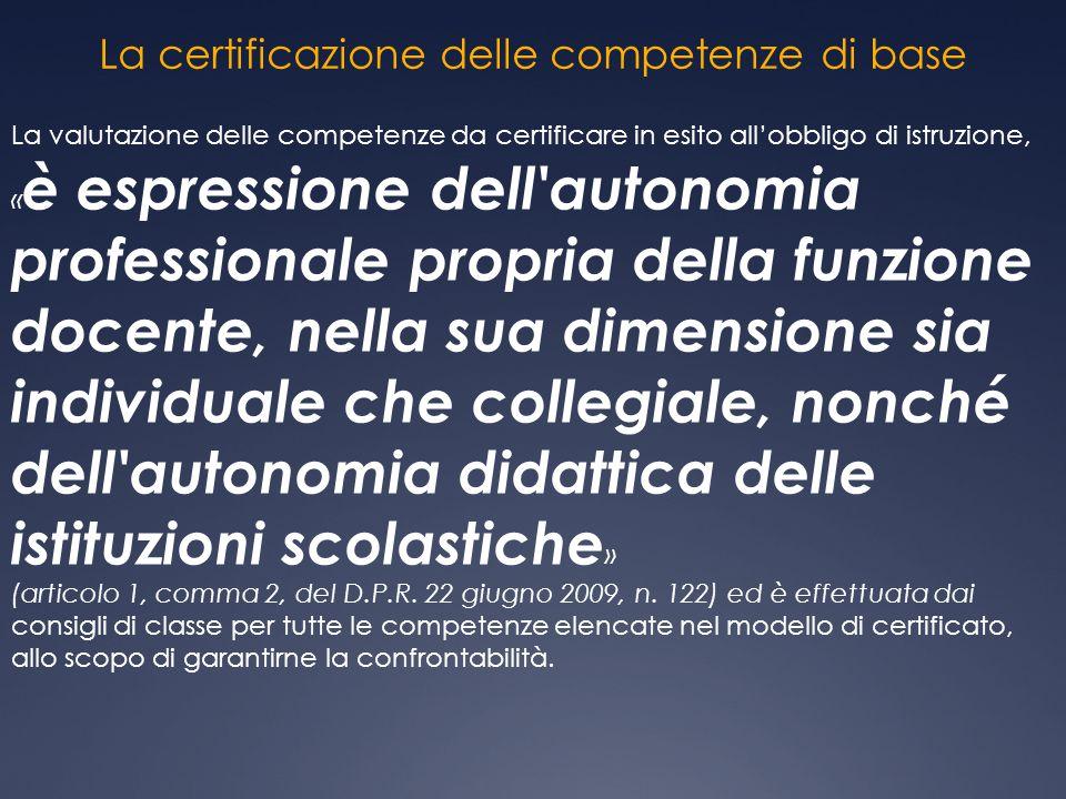 La certificazione delle competenze di base