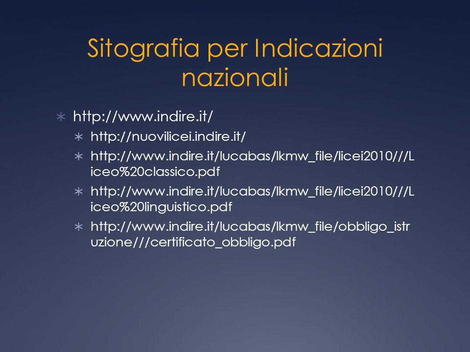 Sitografia per Indicazioni nazionali