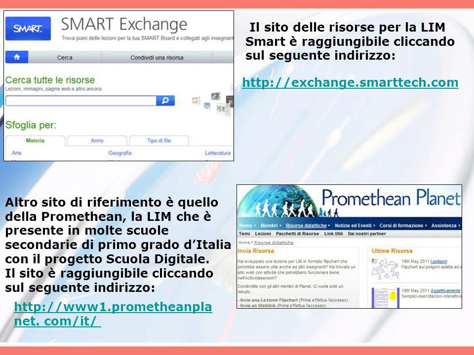 Il sito delle risorse per la LIM Smart è raggiungibile cliccando sul seguente indirizzo: