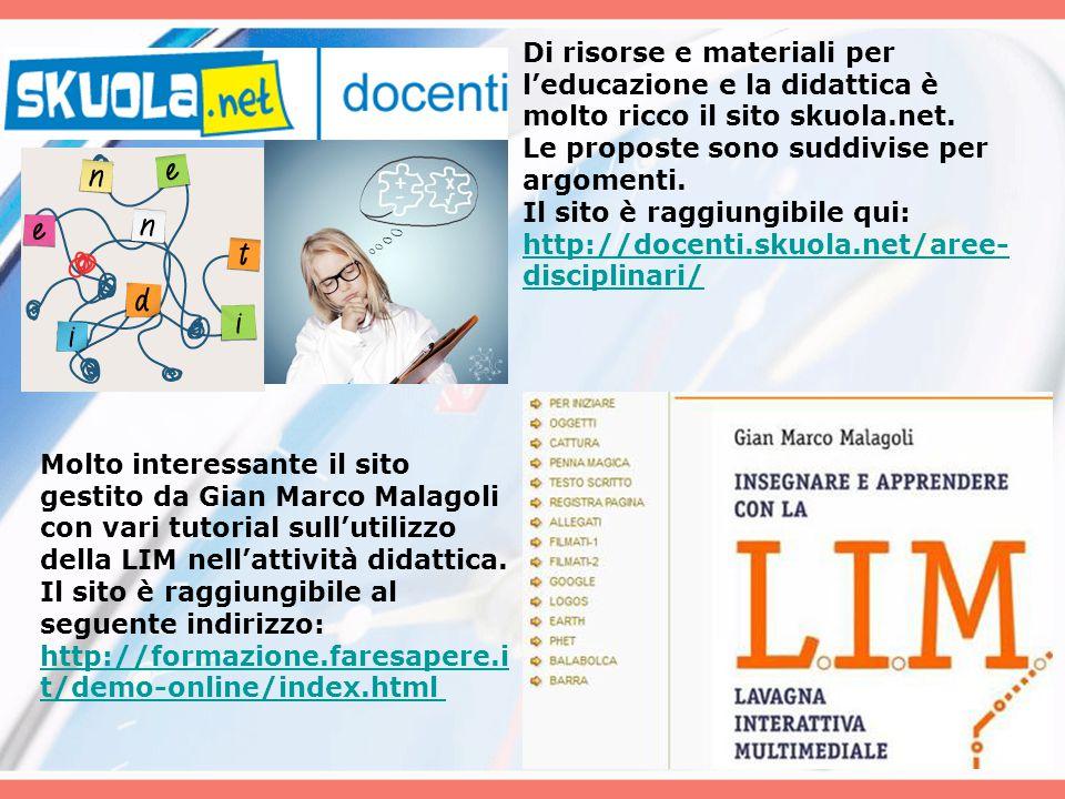 Di risorse e materiali per l'educazione e la didattica è molto ricco il sito skuola.net.