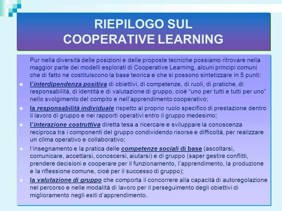 RIEPILOGO SUL COOPERATIVE LEARNING