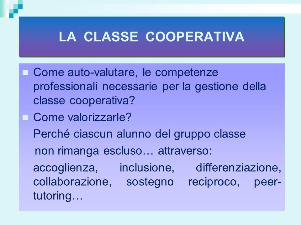 LA CLASSE COOPERATIVA Come auto-valutare, le competenze professionali necessarie per la gestione della classe cooperativa