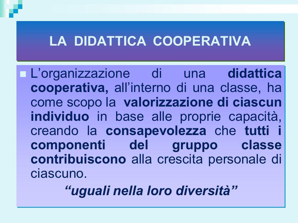 LA DIDATTICA COOPERATIVA uguali nella loro diversità