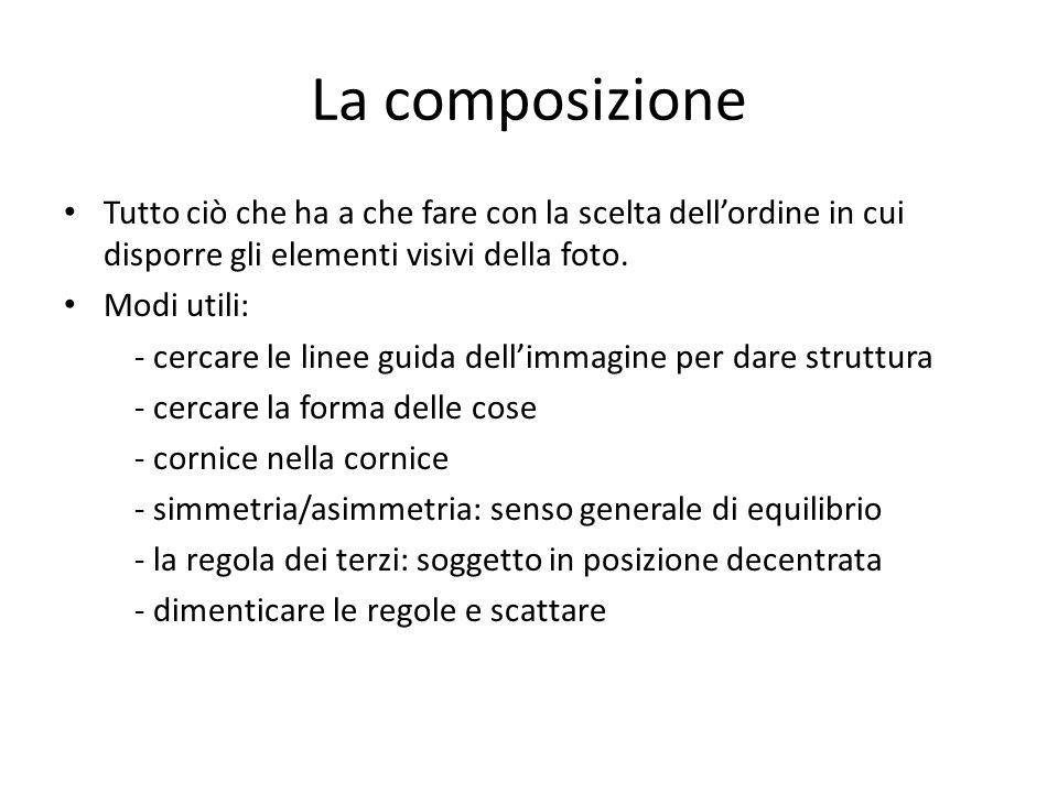 La composizione Tutto ciò che ha a che fare con la scelta dell'ordine in cui disporre gli elementi visivi della foto.