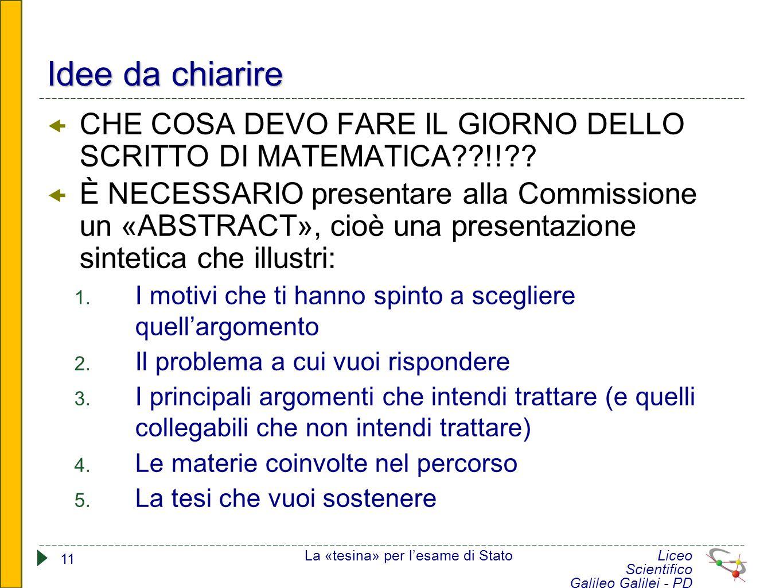 Idee da chiarire CHE COSA DEVO FARE IL GIORNO DELLO SCRITTO DI MATEMATICA !!