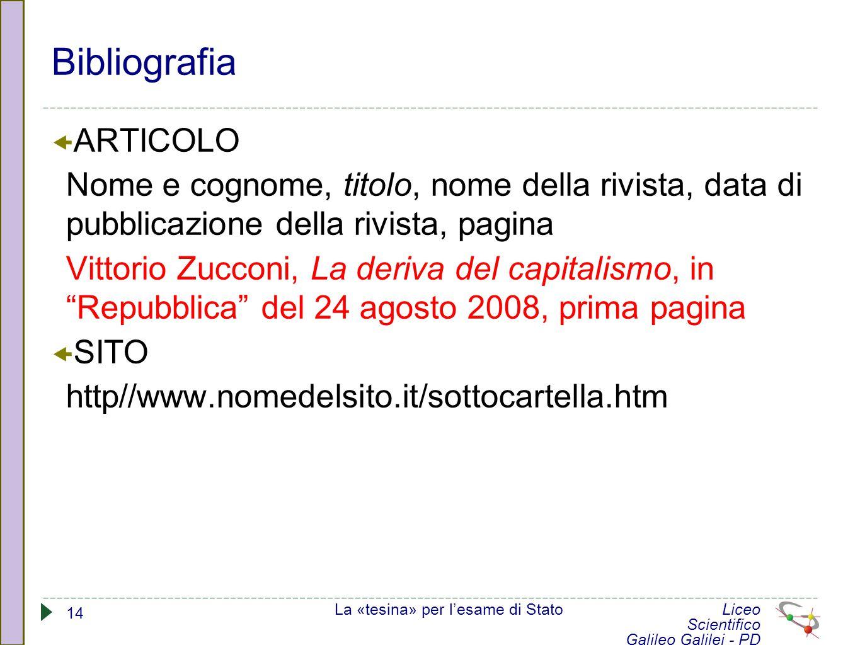 Bibliografia ARTICOLO