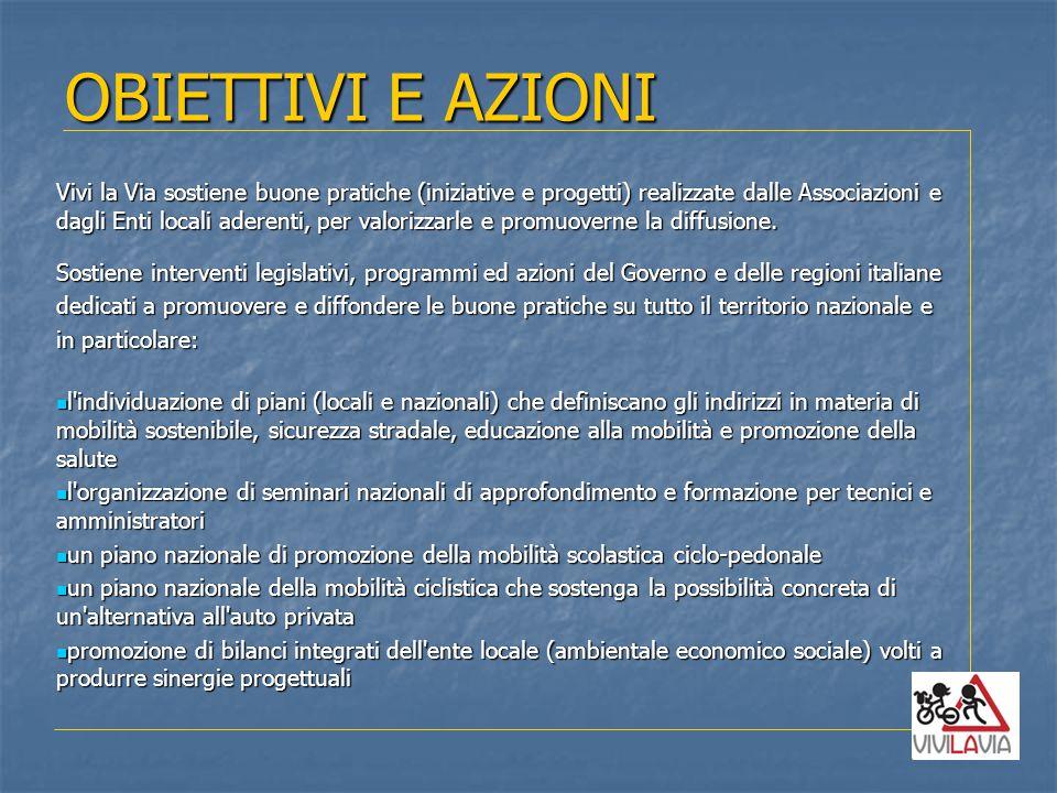 OBIETTIVI E AZIONI Vivi la Via sostiene buone pratiche (iniziative e progetti) realizzate dalle Associazioni e.