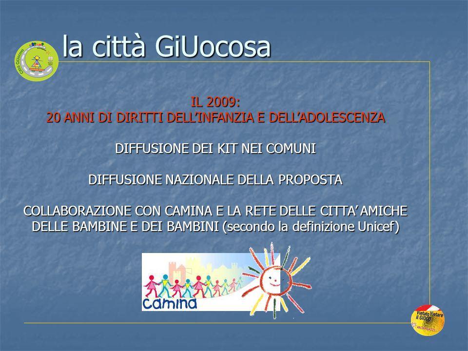 la città GiUocosa IL 2009: 20 ANNI DI DIRITTI DELL'INFANZIA E DELL'ADOLESCENZA. DIFFUSIONE DEI KIT NEI COMUNI.