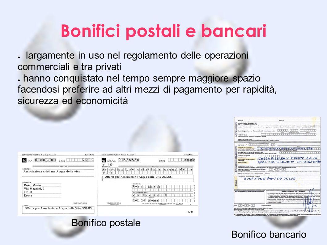 Bonifici postali e bancari