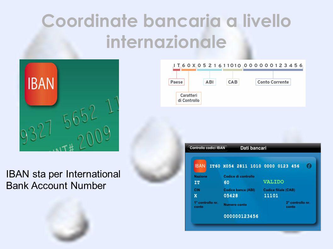 Coordinate bancaria a livello internazionale