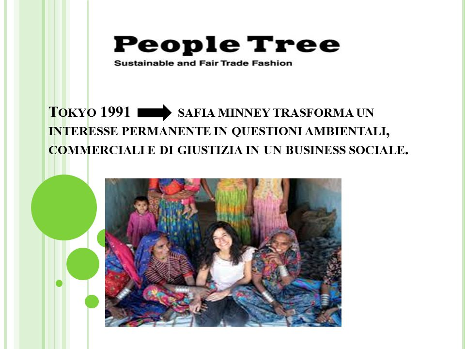 Tokyo 1991 safia minney trasforma un interesse permanente in questioni ambientali, commerciali e di giustizia in un business sociale.