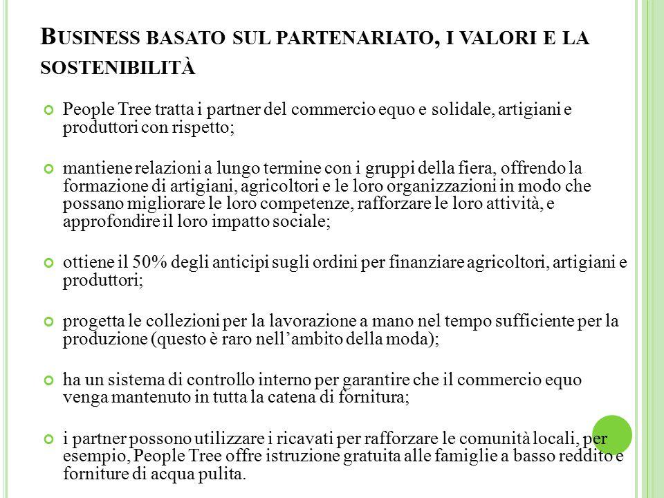 Business basato sul partenariato, i valori e la sostenibilità