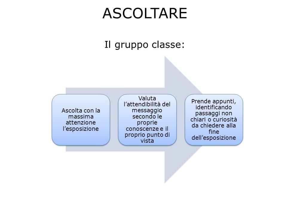 ASCOLTARE Il gruppo classe: