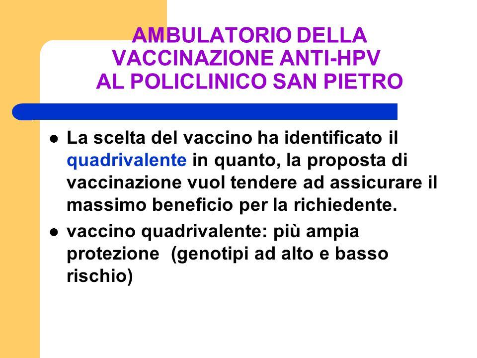 AMBULATORIO DELLA VACCINAZIONE ANTI-HPV AL POLICLINICO SAN PIETRO