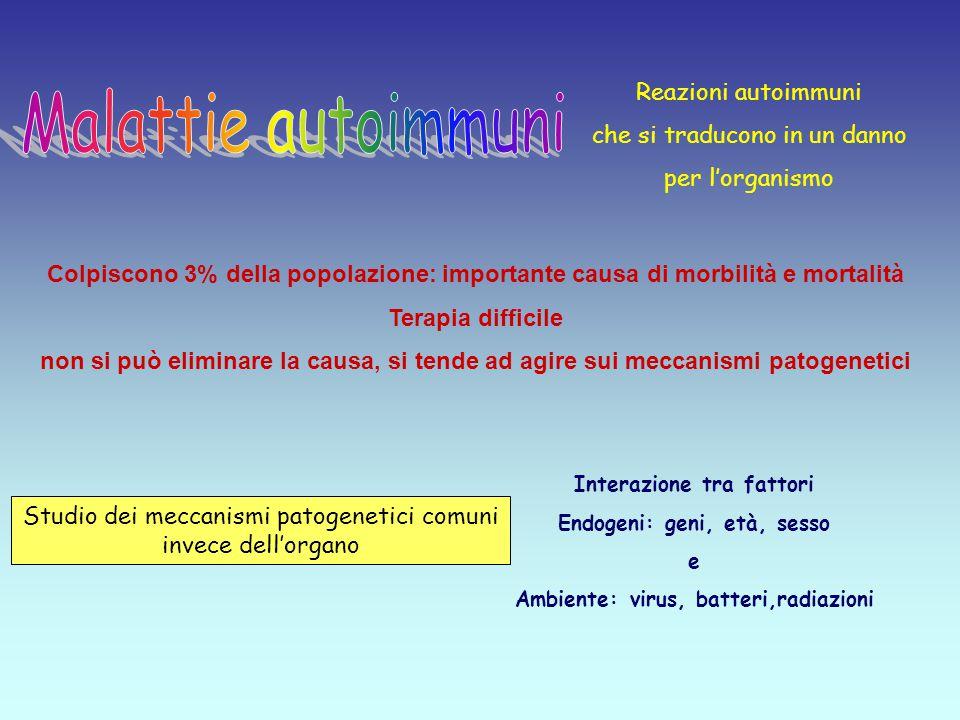 Malattie autoimmuni Reazioni autoimmuni che si traducono in un danno