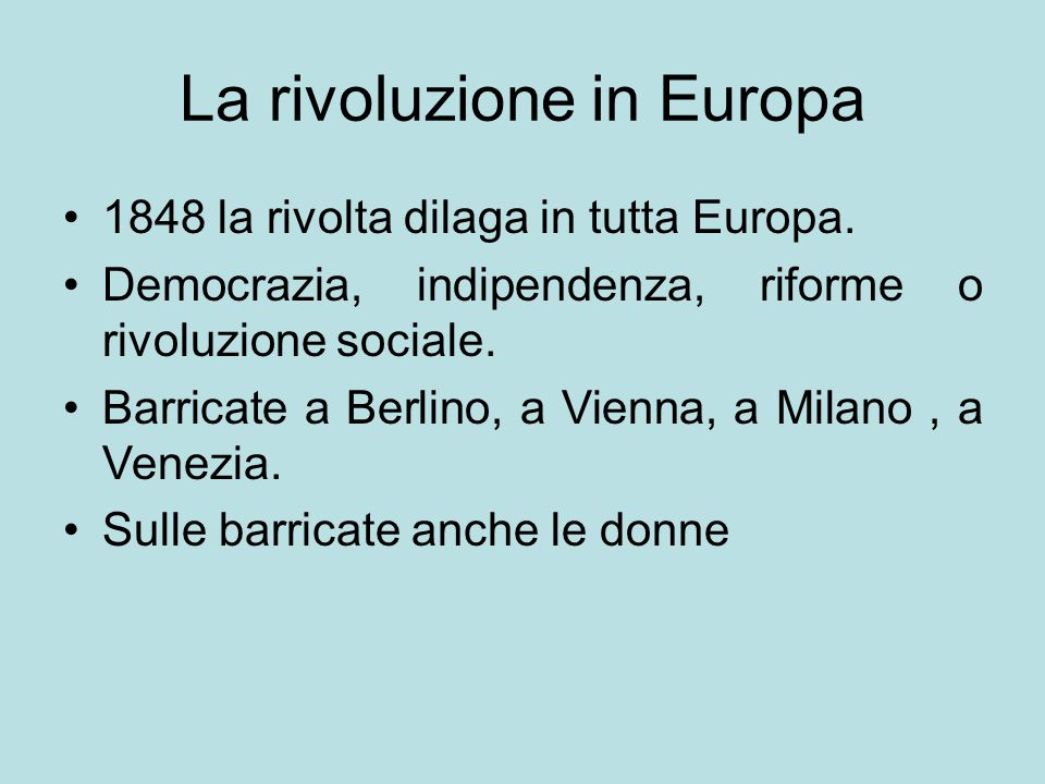 La rivoluzione in Europa