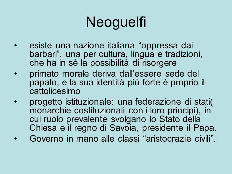 Neoguelfi esiste una nazione italiana oppressa dai barbari , una per cultura, lingua e tradizioni, che ha in sé la possibilità di risorgere.