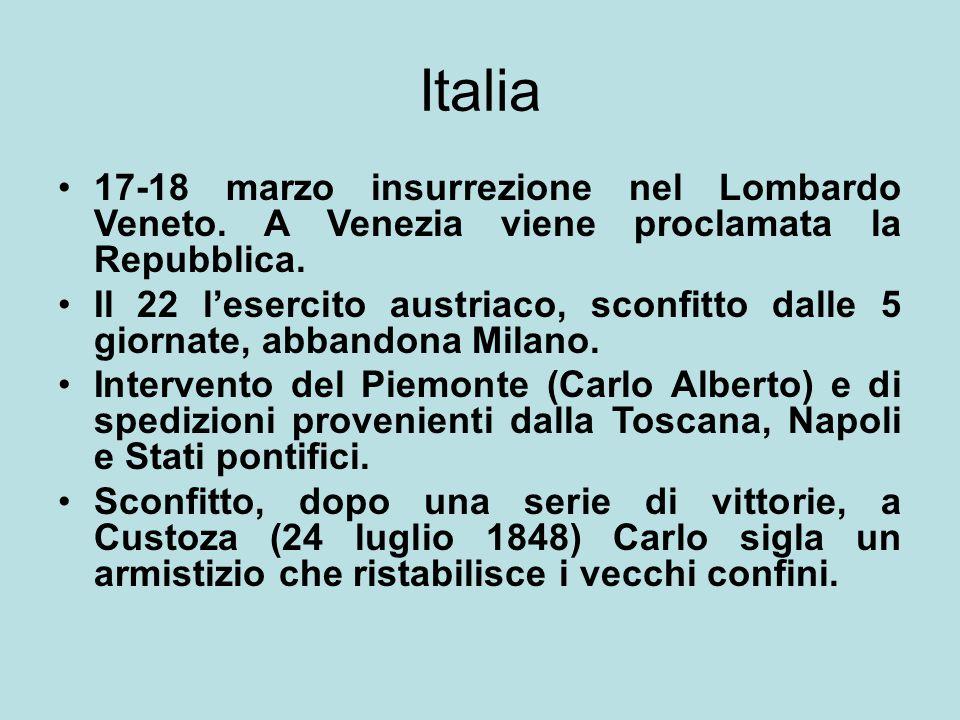Italia 17-18 marzo insurrezione nel Lombardo Veneto. A Venezia viene proclamata la Repubblica.