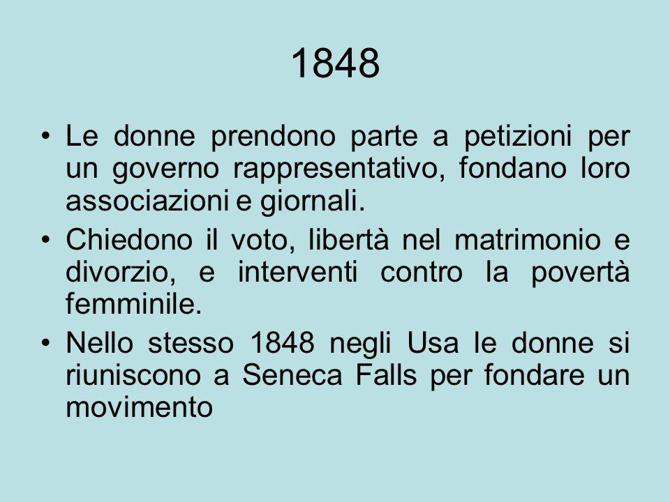1848 Le donne prendono parte a petizioni per un governo rappresentativo, fondano loro associazioni e giornali.