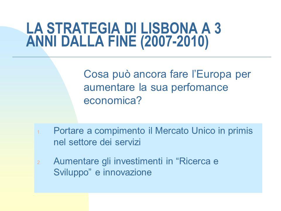 LA STRATEGIA DI LISBONA A 3 ANNI DALLA FINE (2007-2010)