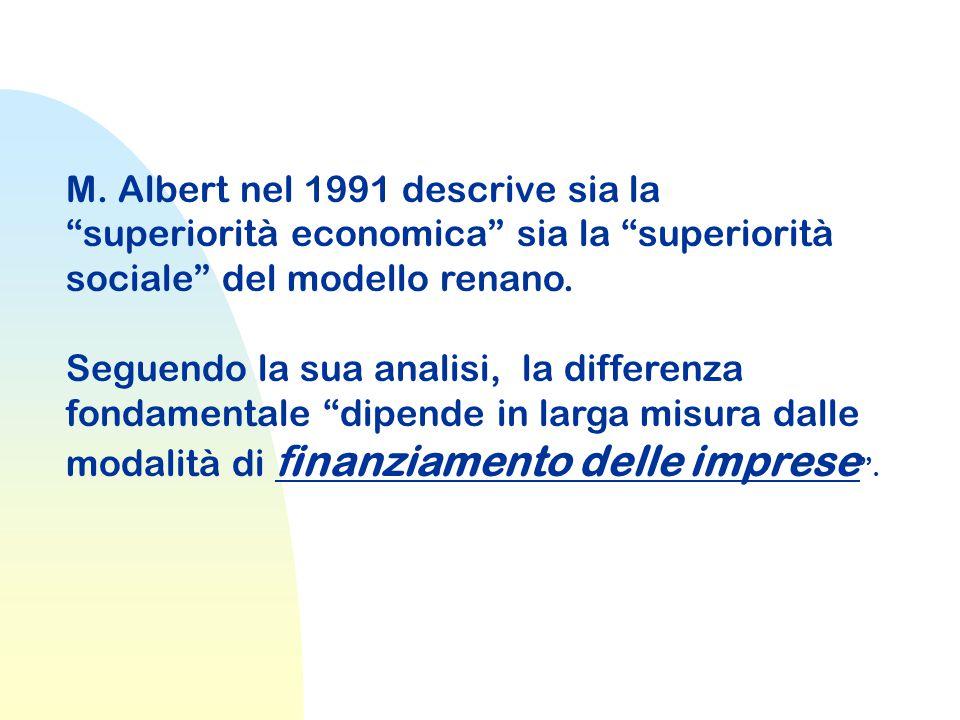 M. Albert nel 1991 descrive sia la superiorità economica sia la superiorità sociale del modello renano.