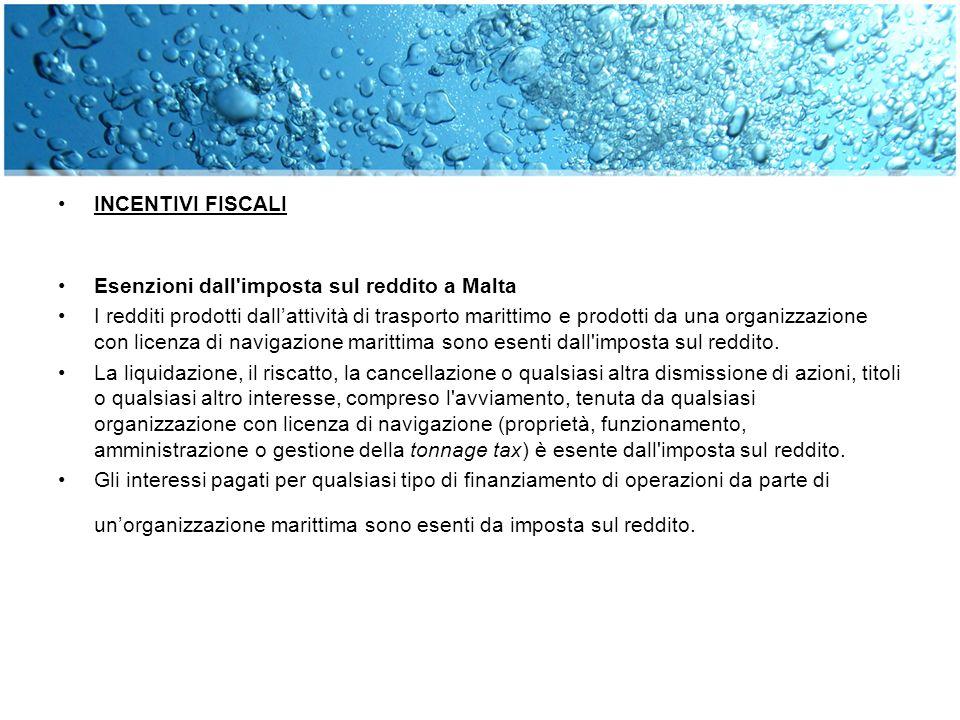 INCENTIVI FISCALI Esenzioni dall imposta sul reddito a Malta.