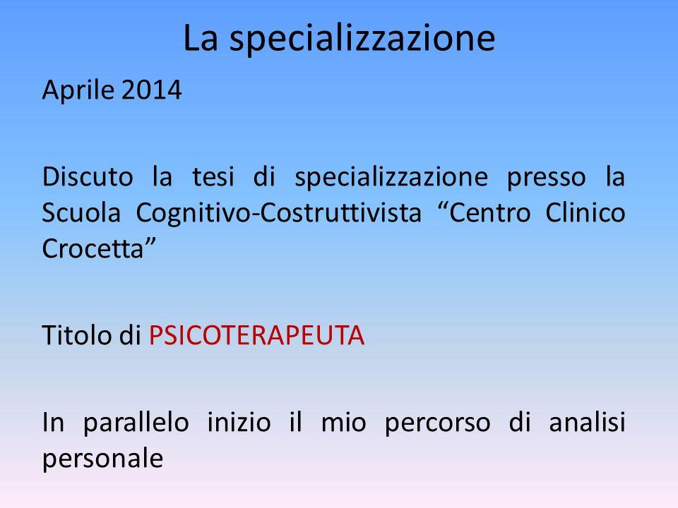 La specializzazione Aprile 2014