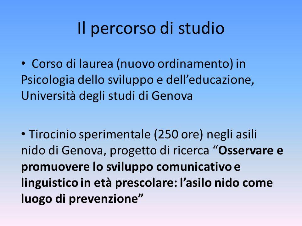 Il percorso di studio Corso di laurea (nuovo ordinamento) in Psicologia dello sviluppo e dell'educazione, Università degli studi di Genova.