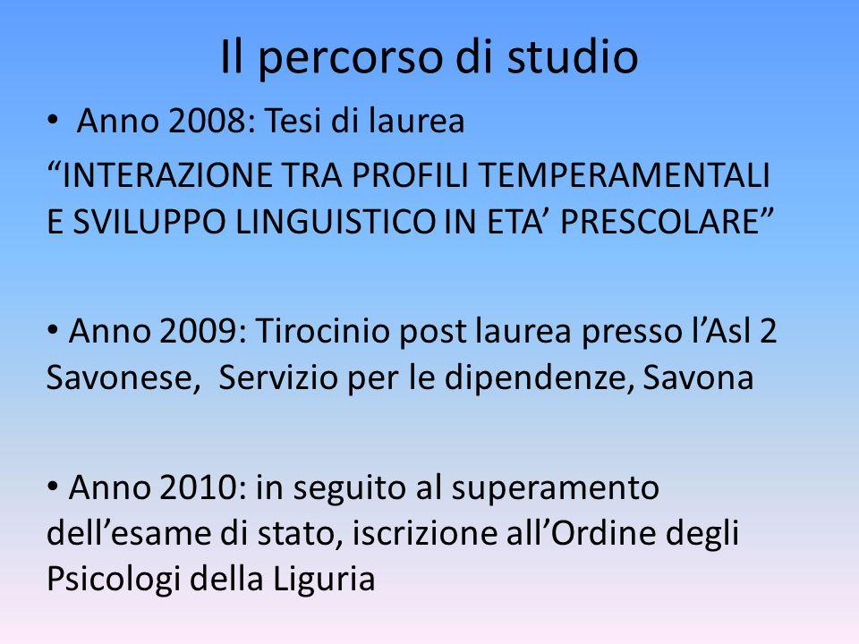 Il percorso di studio Anno 2008: Tesi di laurea