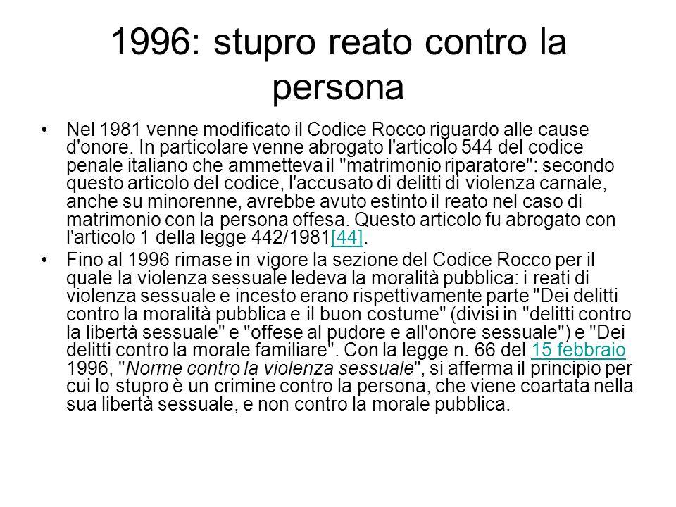 1996: stupro reato contro la persona
