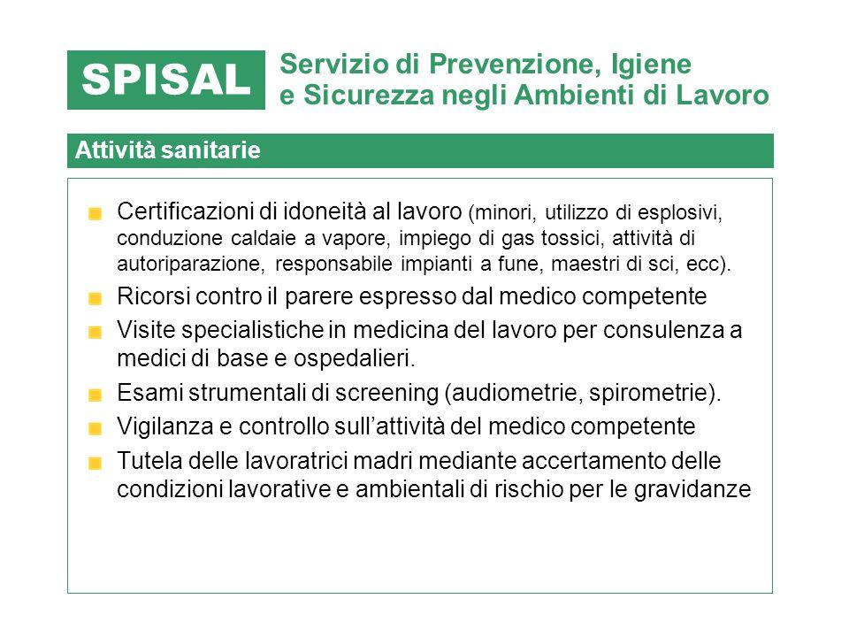 SPISAL Servizio di Prevenzione, Igiene e Sicurezza negli Ambienti di Lavoro. Attività sanitarie.
