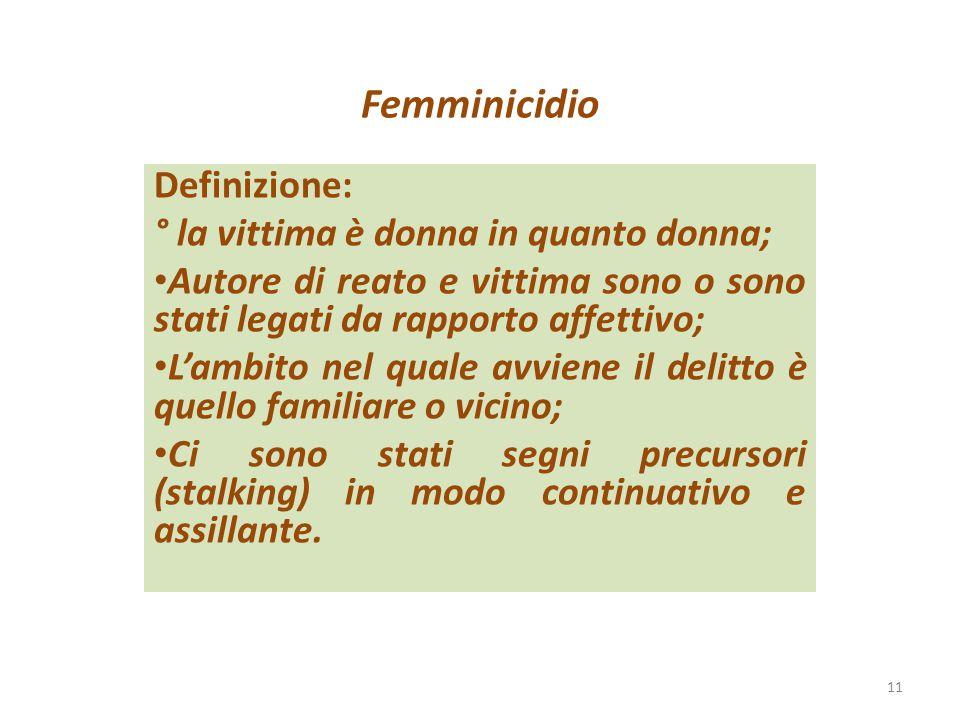 Femminicidio Definizione: ° la vittima è donna in quanto donna;