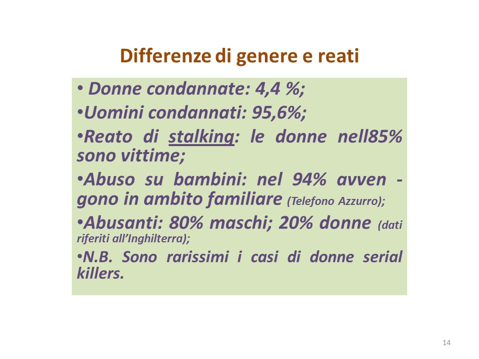 Differenze di genere e reati