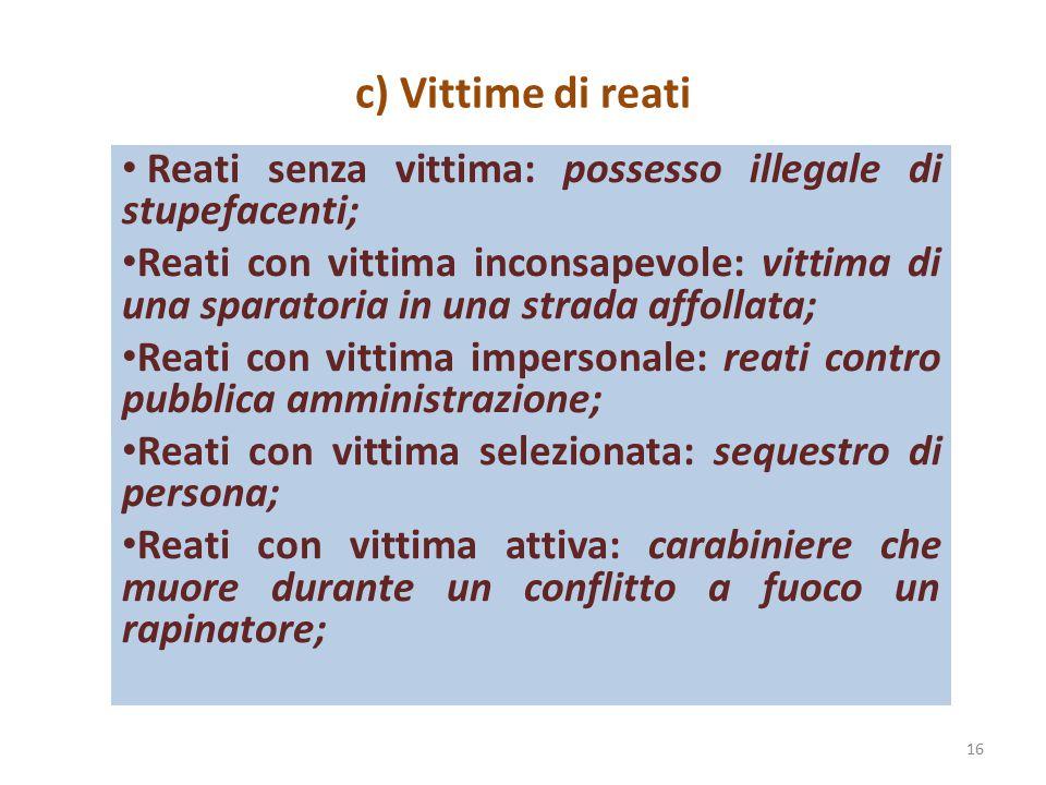 c) Vittime di reati Reati senza vittima: possesso illegale di stupefacenti;