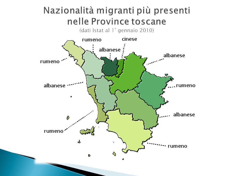 Nazionalità migranti più presenti nelle Province toscane (dati Istat al 1° gennaio 2010)