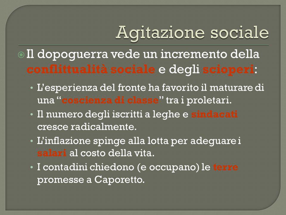 Agitazione sociale Il dopoguerra vede un incremento della conflittualità sociale e degli scioperi: