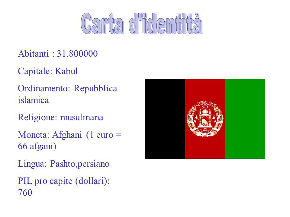 Carta d identità Abitanti : 31.800000 Capitale: Kabul