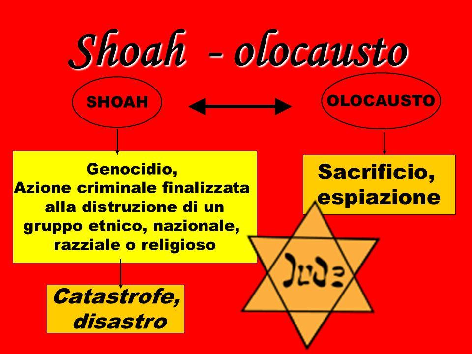 Shoah - olocausto Sacrificio, espiazione Catastrofe, disastro