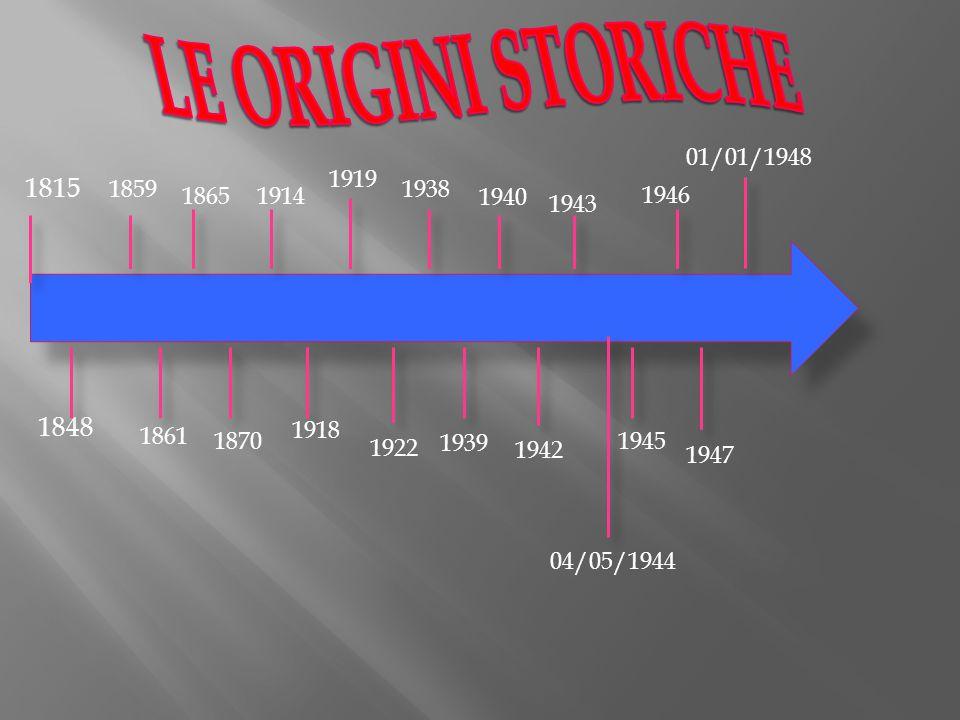 LE ORIGINI STORICHE 01/01/1948. 1919. 1815. 1859. 1938. 1865. 1914. 1940. 1946. 1943. 1848.