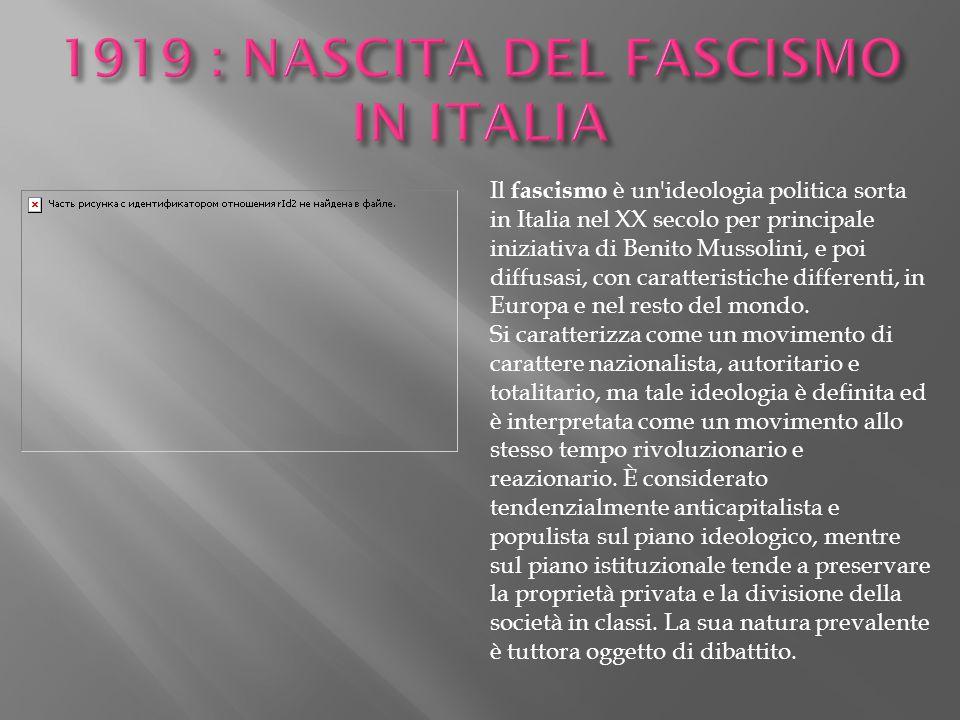 1919 : NASCITA DEL FASCISMO IN ITALIA