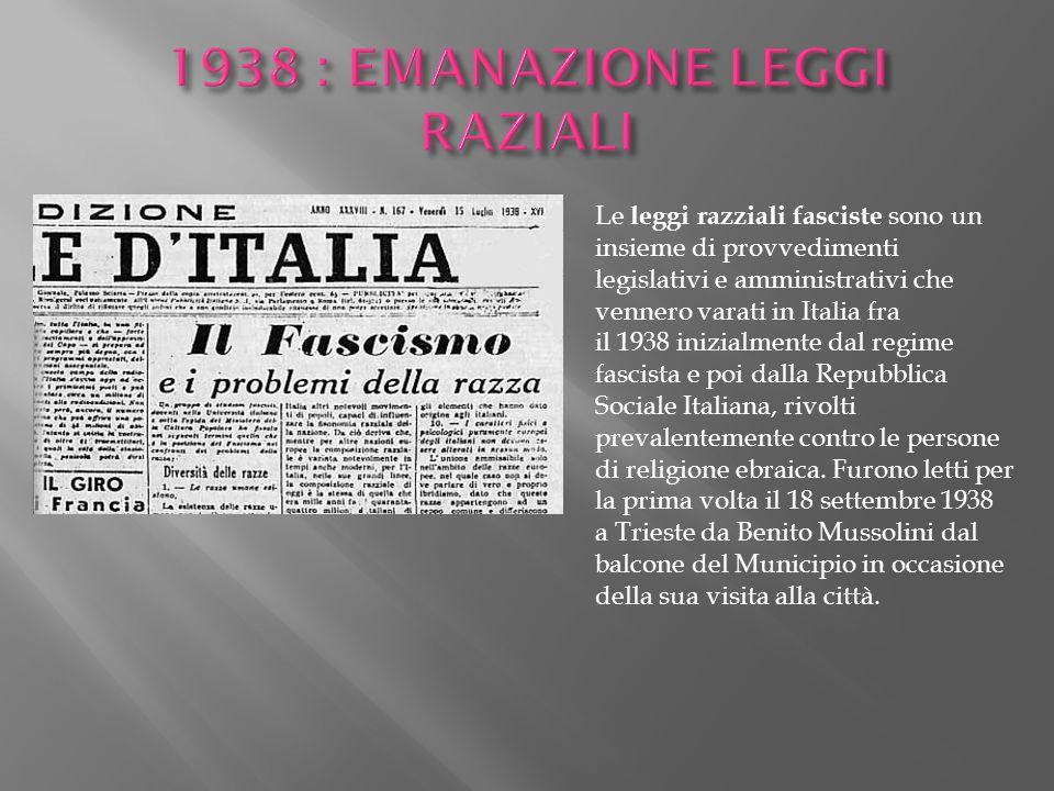 1938 : EMANAZIONE LEGGI RAZIALI
