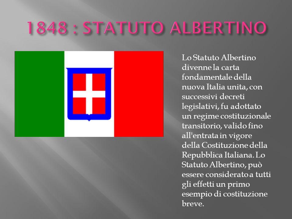 1848 : STATUTO ALBERTINO