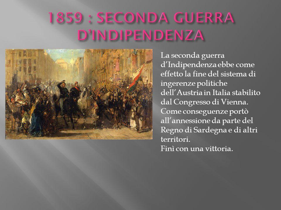 1859 : SECONDA GUERRA D'INDIPENDENZA